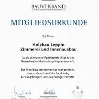 Mitgliedsurkunde Bauverband M/V