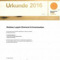 Urkunde Qualifizierungsprogramm NetzwerkHolz