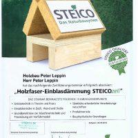 """Zertifikat """"Holzfaser-Einblasdämmung"""""""